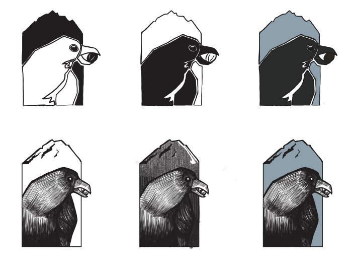 Little Raven Roastery logo compositions.